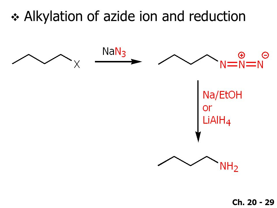 Ch. 20 - 29  Alkylation of azide ion and reduction