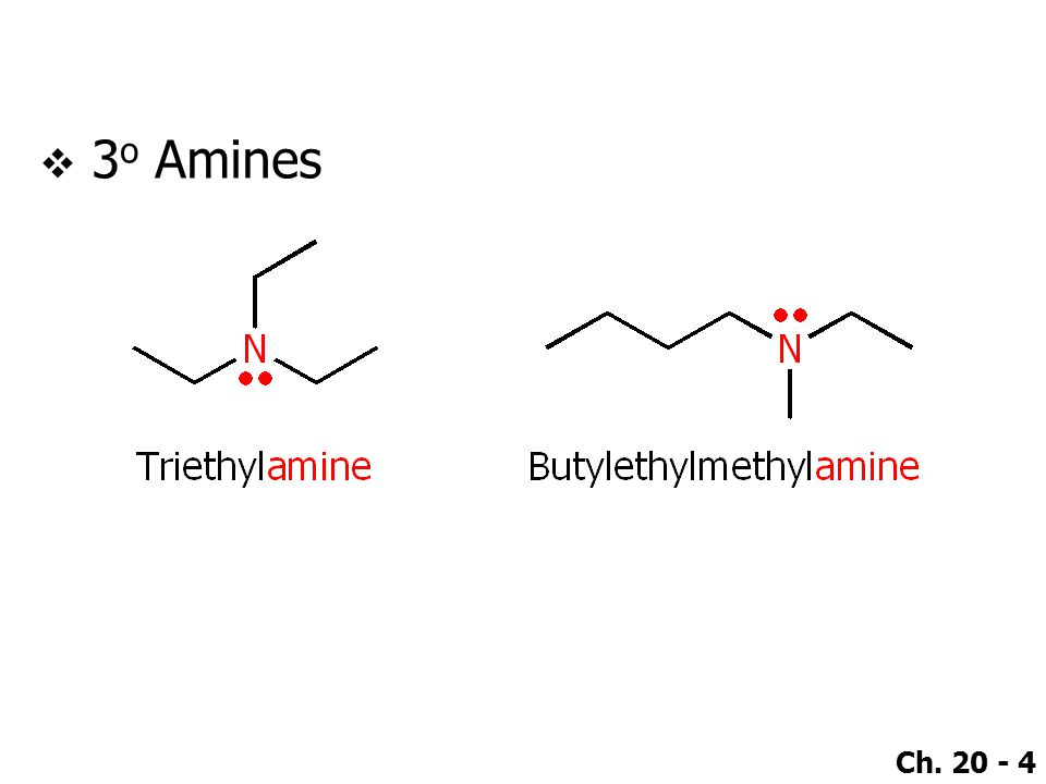 Ch. 20 - 75 ●Aliphatic amines  1020 – 1220 cm -1 (C–N) ●Aromatic amines  1250 – 1360 cm -1 (C–N)