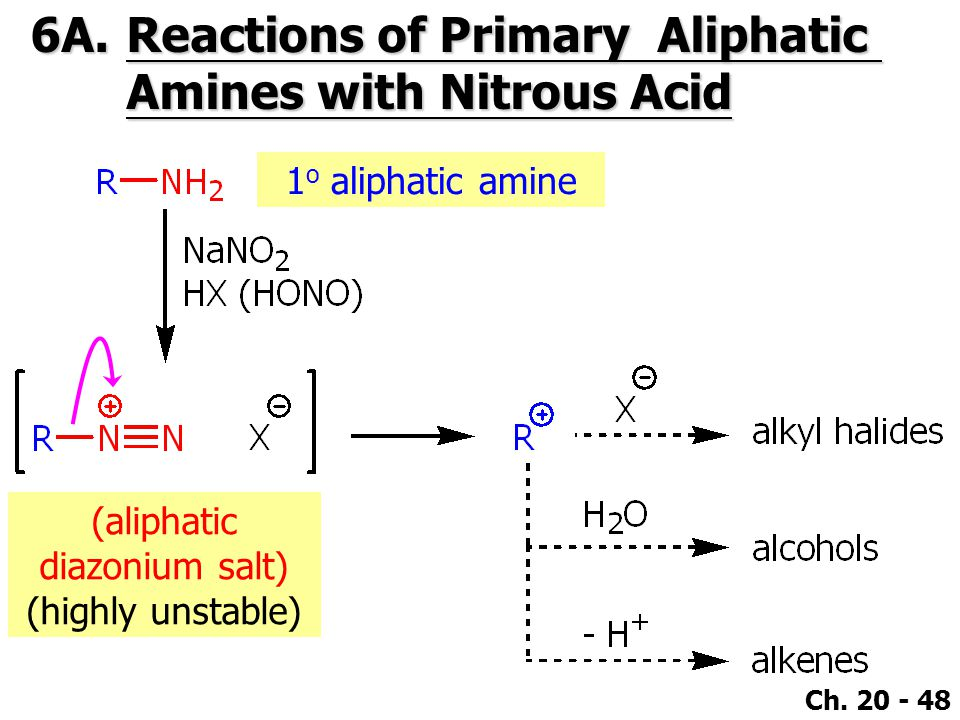 Ch. 20 - 48 6A.Reactions of Primary Aliphatic Amines with Nitrous Acid 1 o aliphatic amine (aliphatic diazonium salt) (highly unstable)