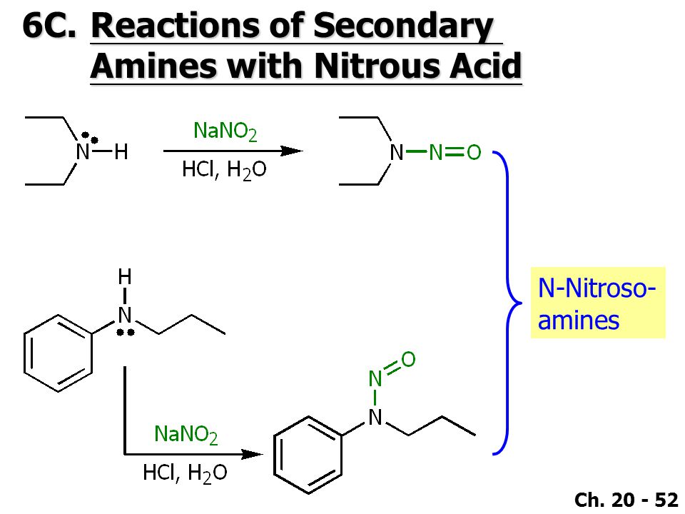 Ch. 20 - 52 6C.Reactions of Secondary Amines with Nitrous Acid N-Nitroso- amines