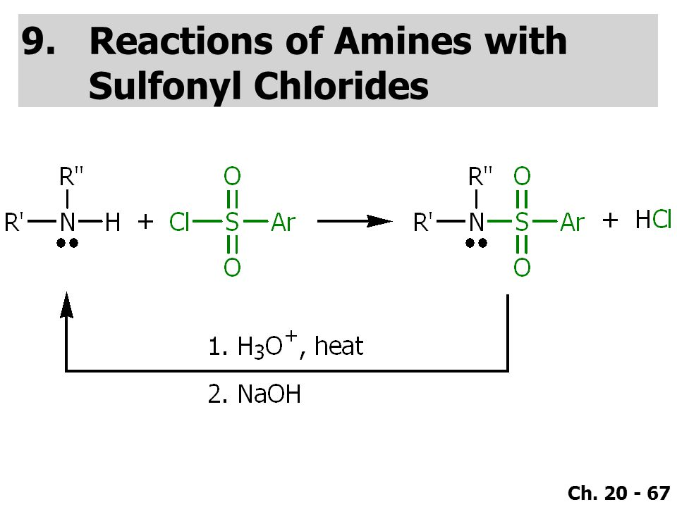 Ch. 20 - 67 9.Reactions of Amines with Sulfonyl Chlorides
