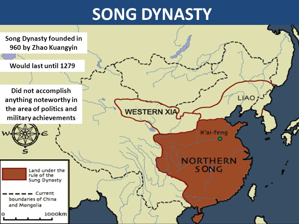 SONG DYNASTY Song Dynasty founded in 960 by Zhao Kuangyin Would last until 1279 Did not accomplish anything noteworthy in the area of politics and military achievements