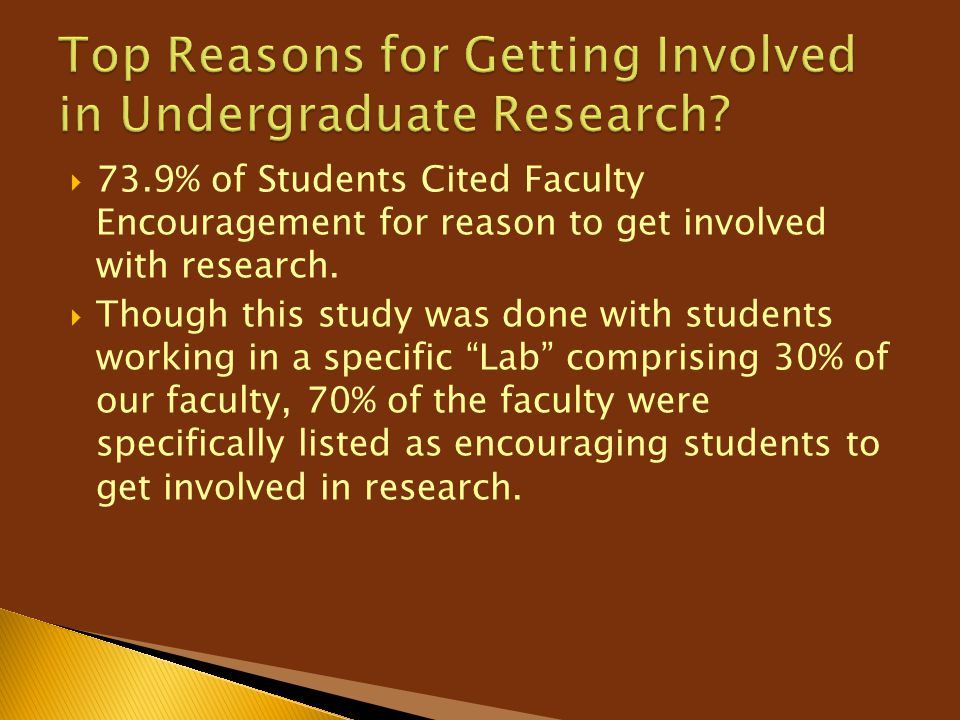  73.9% of Students Cited Faculty Encouragement for reason to get involved with research.  Though this study was done with students working in a spec