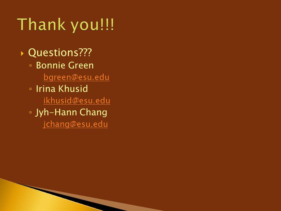  Questions??? ◦ Bonnie Green  bgreen@esu.edu bgreen@esu.edu ◦ Irina Khusid  ikhusid@esu.edu ikhusid@esu.edu ◦ Jyh-Hann Chang  jchang@esu.edu jchan