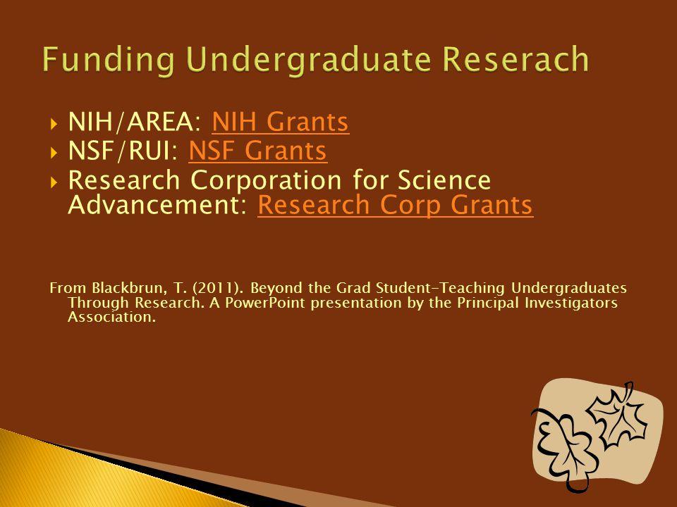  NIH/AREA: NIH GrantsNIH Grants  NSF/RUI: NSF GrantsNSF Grants  Research Corporation for Science Advancement: Research Corp GrantsResearch Corp Gra