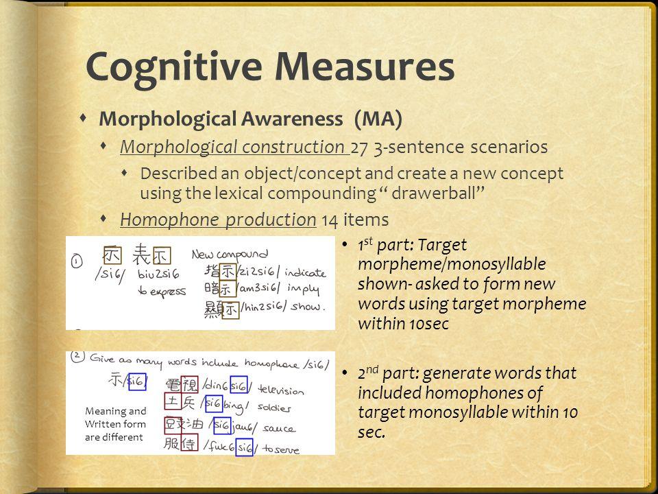 Cognitive Measures  Morphological Awareness (MA)  Morphological construction 27 3-sentence scenarios  Described an object/concept and create a new