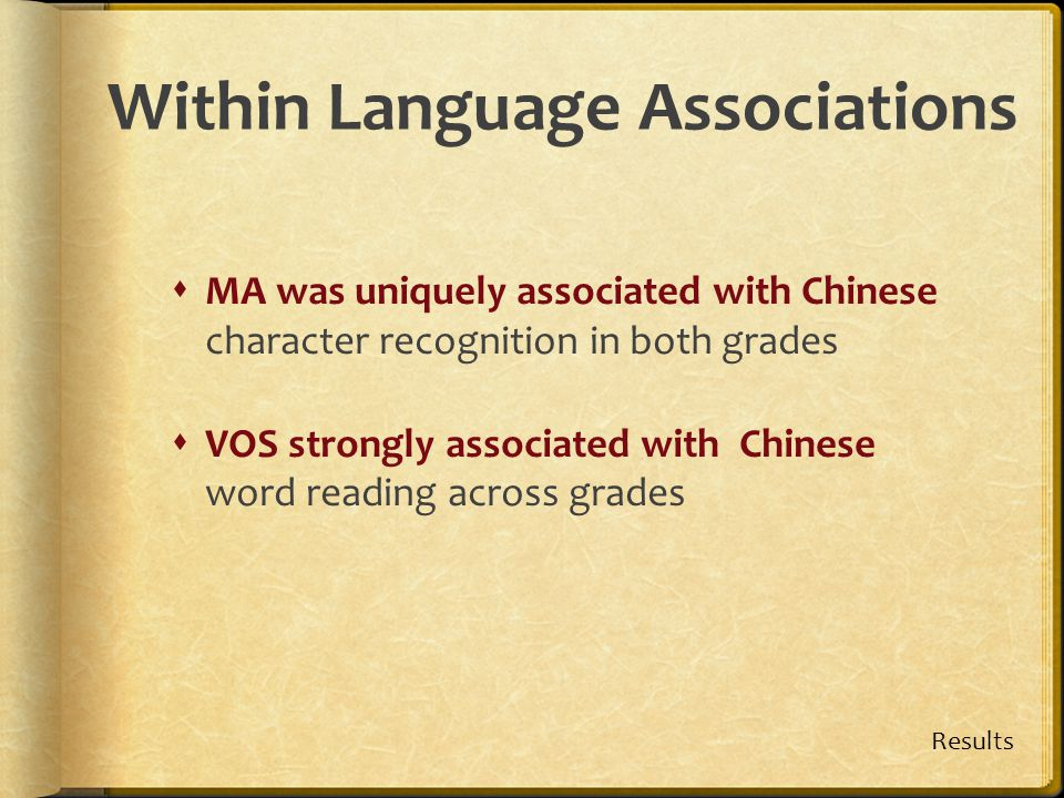 Within Language Associations  MA was uniquely associated with Chinese character recognition in both grades  VOS strongly associated with Chinese wor