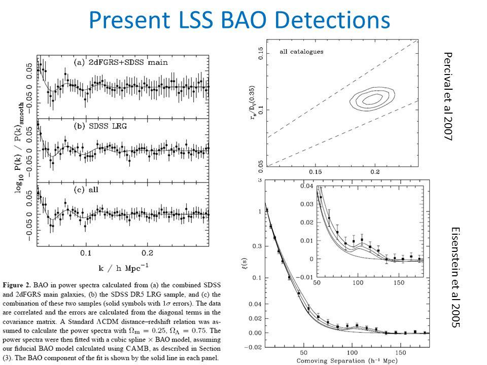Present LSS BAO Detections Percival et al 2007 Eisenstein et al 2005