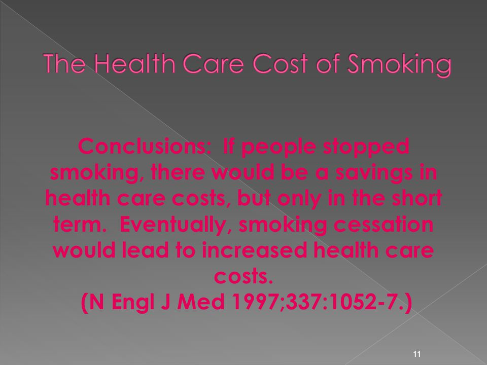 11 Conclusions: If people stopped smoking, there would be a savings in health care costs, but only in the short term.