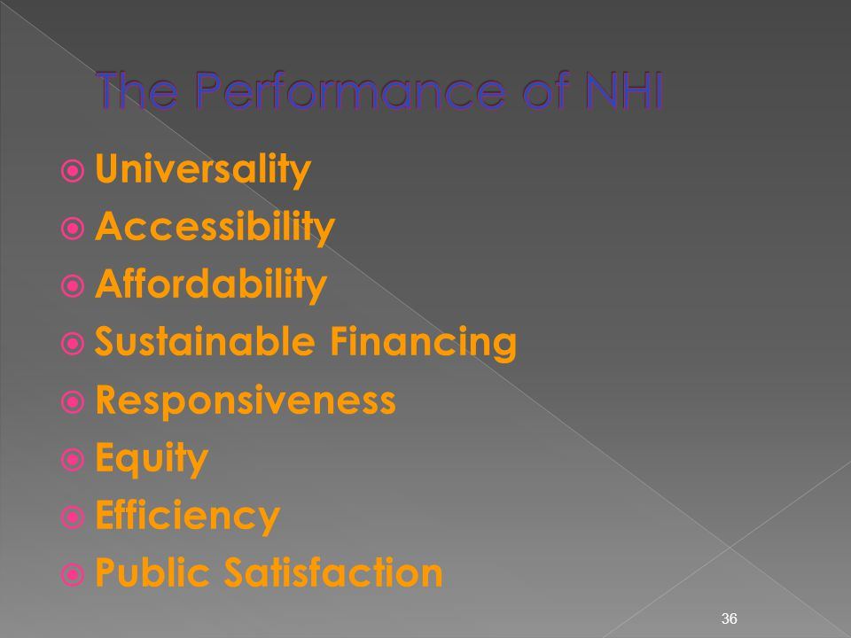  Universality  Accessibility  Affordability  Sustainable Financing  Responsiveness  Equity  Efficiency  Public Satisfaction 36