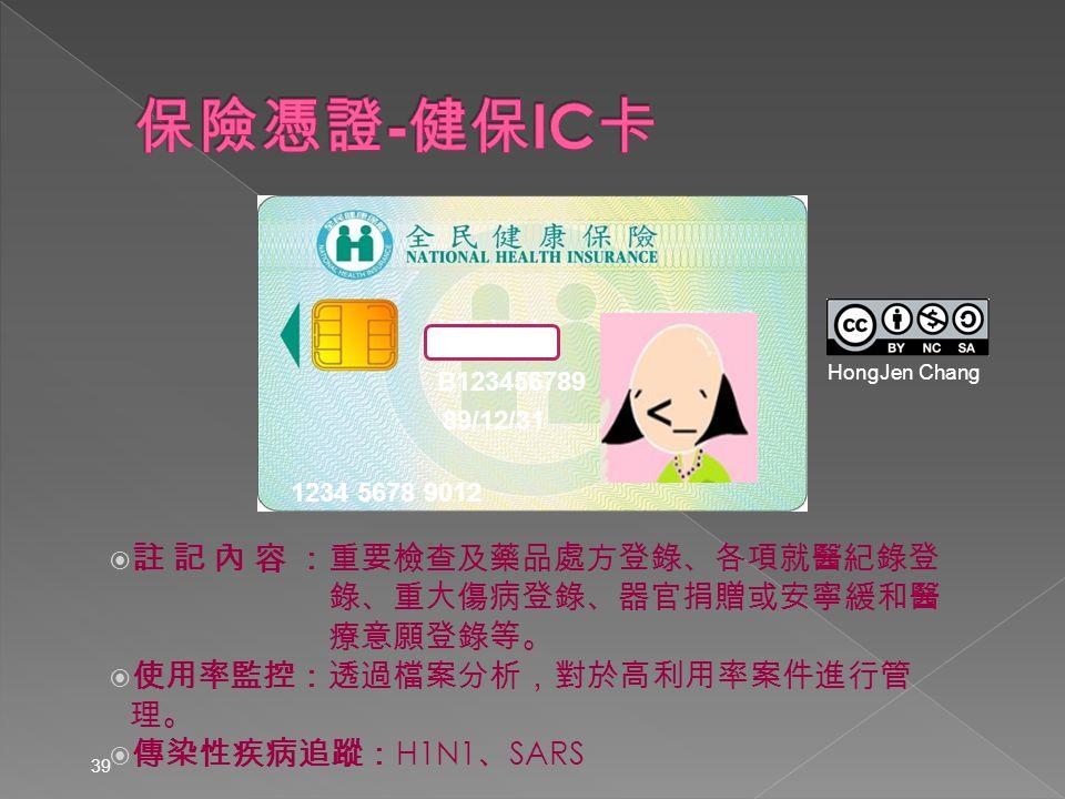  註 記 內 容 :重要檢查及藥品處方登錄、各項就醫紀錄登 錄、重大傷病登錄、器官捐贈或安寧緩和醫 療意願登錄等。  使用率監控:透過檔案分析,對於高利用率案件進行管理。  傳染性疾病追蹤: H1N1 、 SARS 39 1234 5678 9012 89/12/31 B123456789 楊志良 HongJen Chang