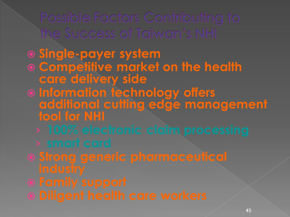  Single-payer system  Competitive market on the health care delivery side  Information technology offers additional cutting edge management tool for NHI › 100% electronic claim processing › smart card  Strong generic pharmaceutical industry  Family support  Diligent health care workers 45