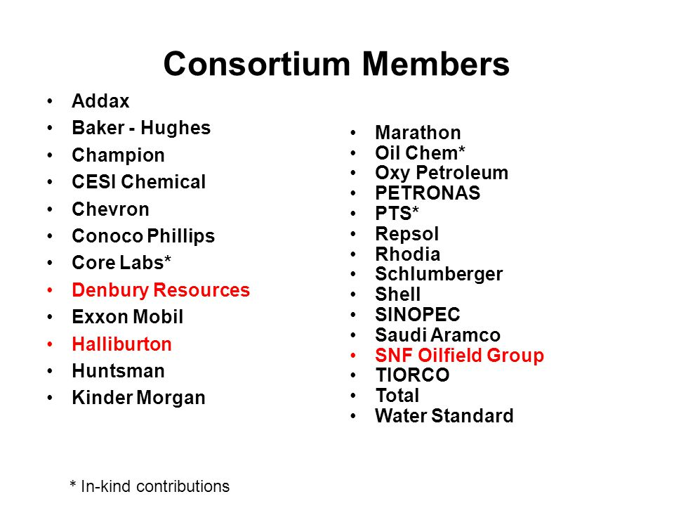 Consortium Members Addax Baker - Hughes Champion CESI Chemical Chevron Conoco Phillips Core Labs* Denbury Resources Exxon Mobil Halliburton Huntsman Kinder Morgan Marathon Oil Chem* Oxy Petroleum PETRONAS PTS* Repsol Rhodia Schlumberger Shell SINOPEC Saudi Aramco SNF Oilfield Group TIORCO Total Water Standard * In-kind contributions