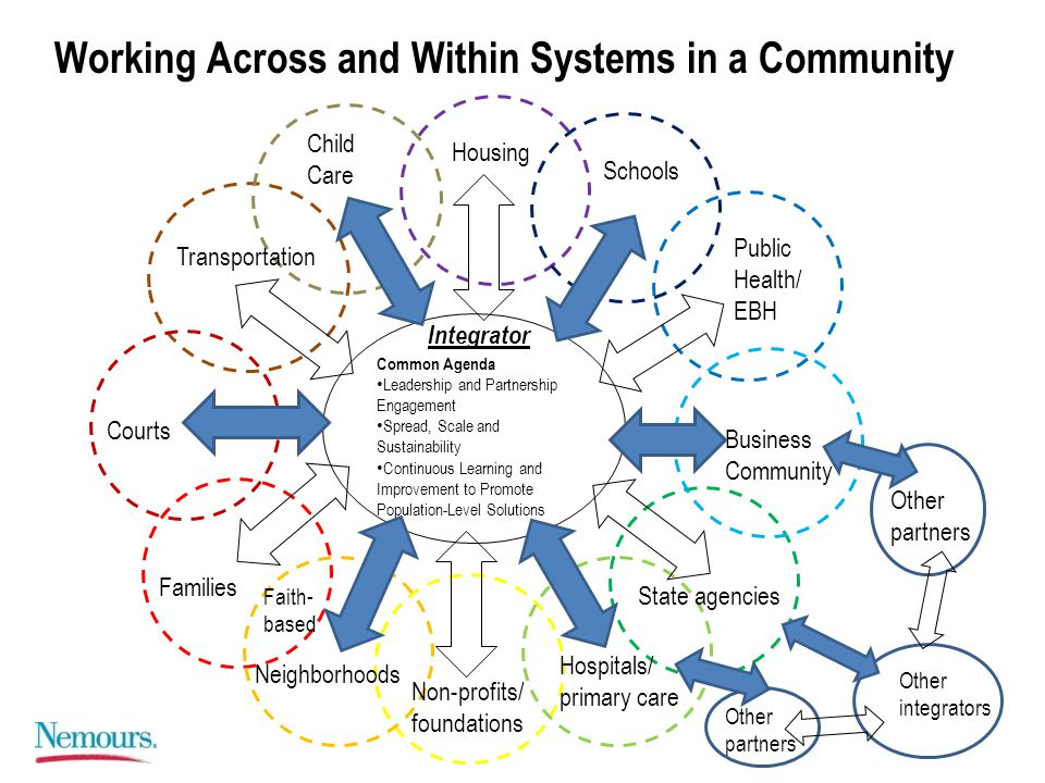 Common Agenda Leadership and Partnership Engagement Spread, Scale and Sustainability Continuous Learning and Improvement to Promote Population-Level Solutions Business Community Public Health/ EBH Schools Housing Child Care Transportation Courts Families Neighborhoods Non-profits/ foundations Hospitals/ primary care State agencies Other integrators Integrator Working Across and Within Systems in a Community Faith- based Other partners