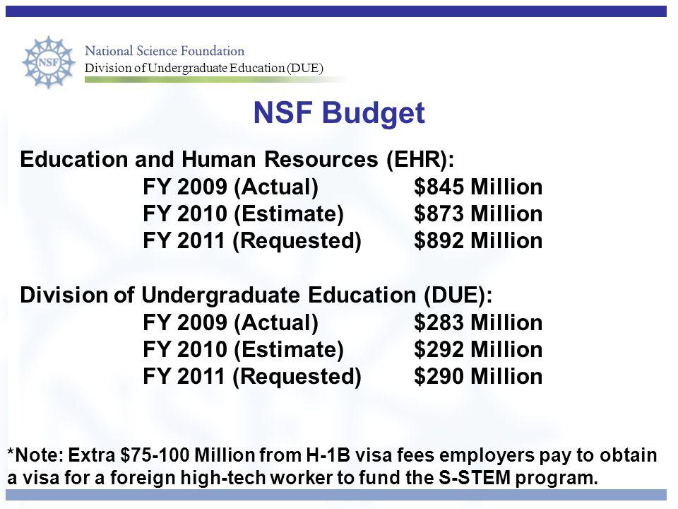 Division of Undergraduate Education (DUE) NSF Budget Education and Human Resources (EHR): FY 2009 (Actual)$845 Million FY 2010 (Estimate)$873 Million FY 2011 (Requested)$892 Million Division of Undergraduate Education (DUE): FY 2009 (Actual)$283 Million FY 2010 (Estimate) $292 Million FY 2011 (Requested) $290 Million *Note: Extra $75-100 Million from H-1B visa fees employers pay to obtain a visa for a foreign high-tech worker to fund the S-STEM program.