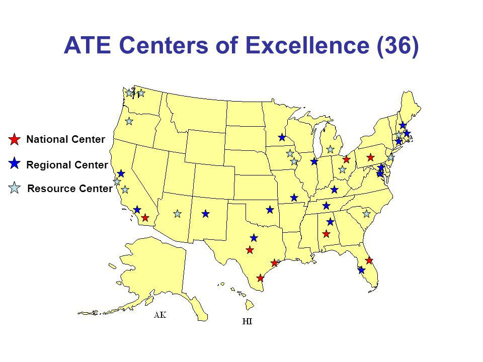 ATE Centers of Excellence (36) National Center Regional Center Resource Center