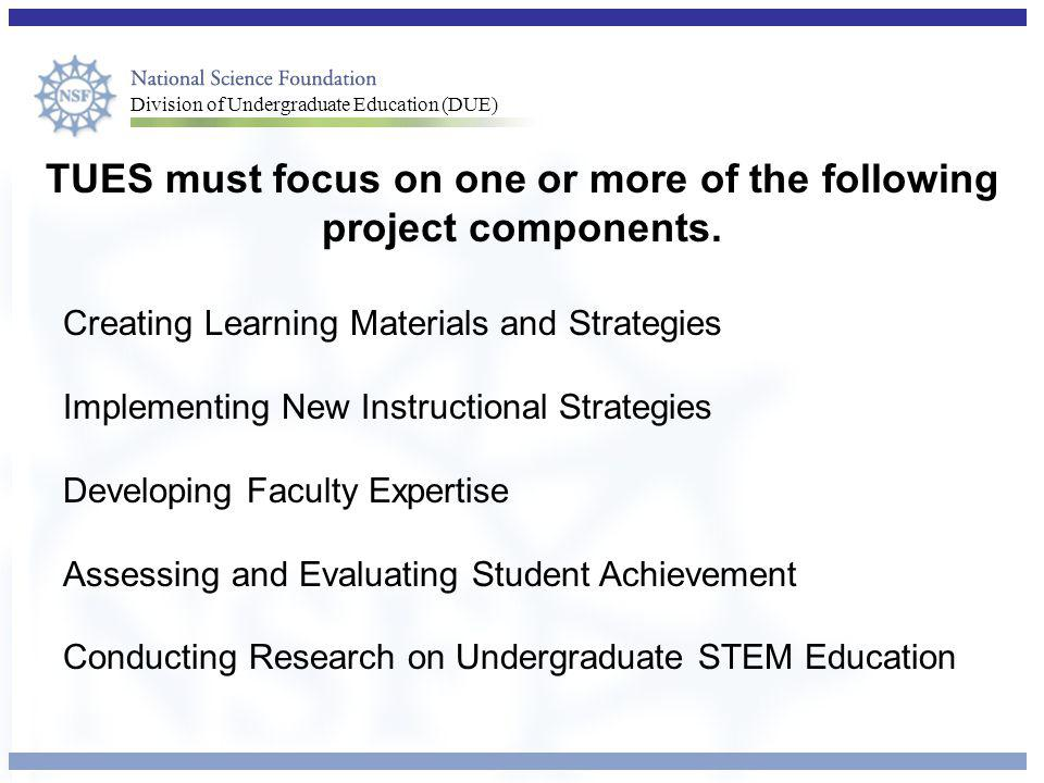 Division of Undergraduate Education (DUE) TUES must focus on one or more of the following project components.