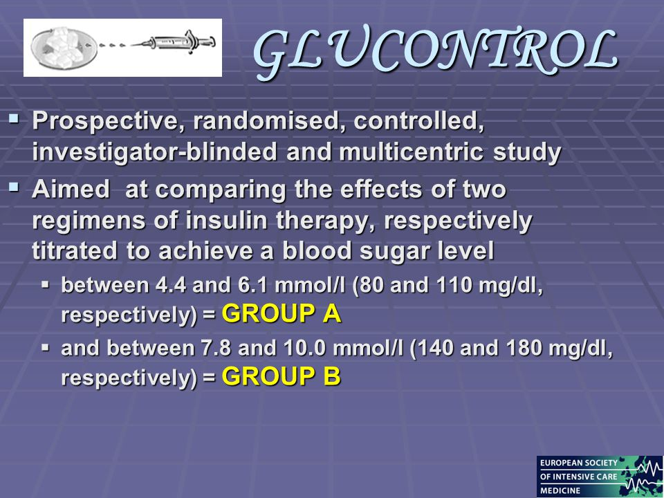 GLUCONTROL  Prospective, randomised, controlled, investigator-blinded and multicentric study  Aimed at comparing the effects of two regimens of insu