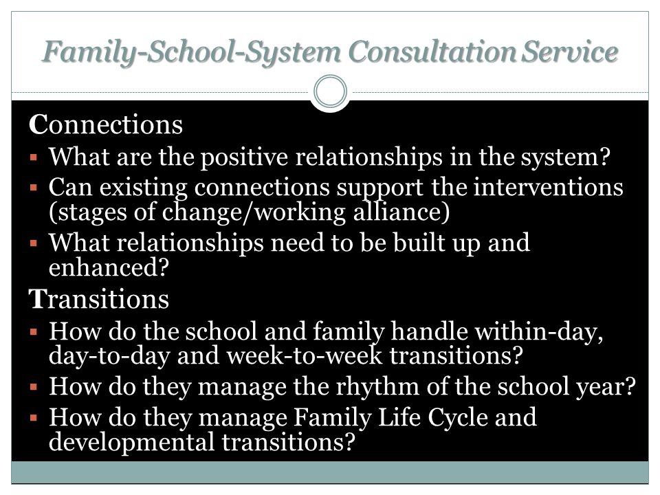 Family-School-System Consultation Service Connections  What are the positive relationships in the system.