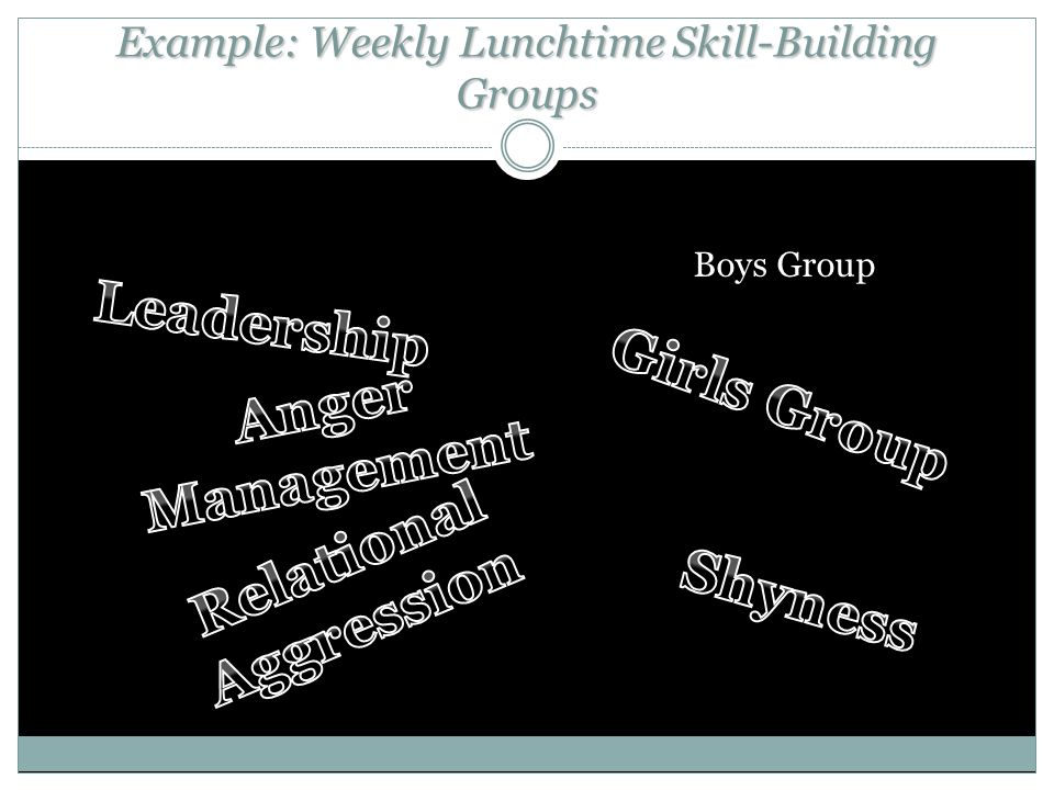 Example: Weekly Lunchtime Skill-Building Groups Boys Group