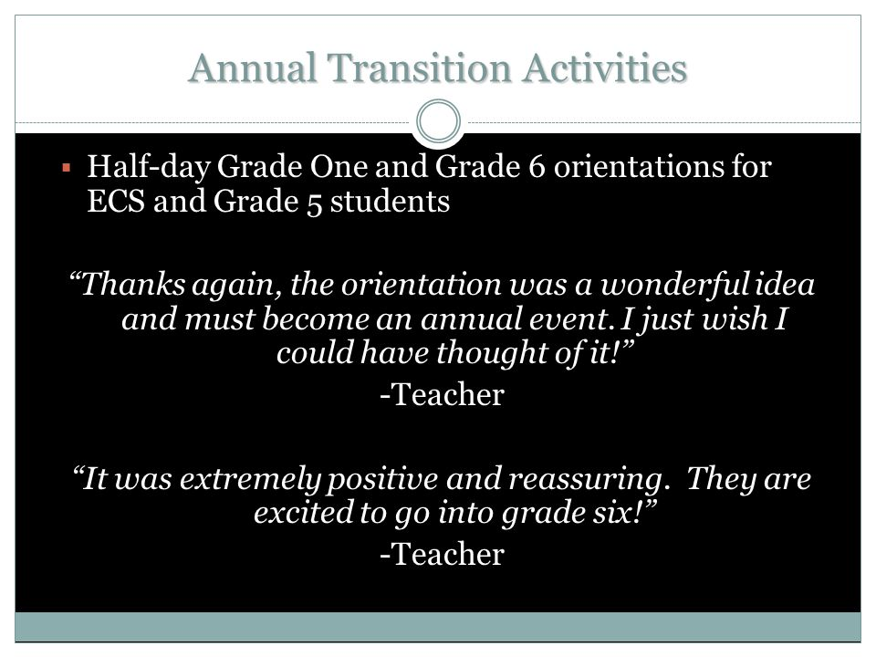 Annual Transition Activities  Half-day Grade One and Grade 6 orientations for ECS and Grade 5 students Thanks again, the orientation was a wonderful idea and must become an annual event.