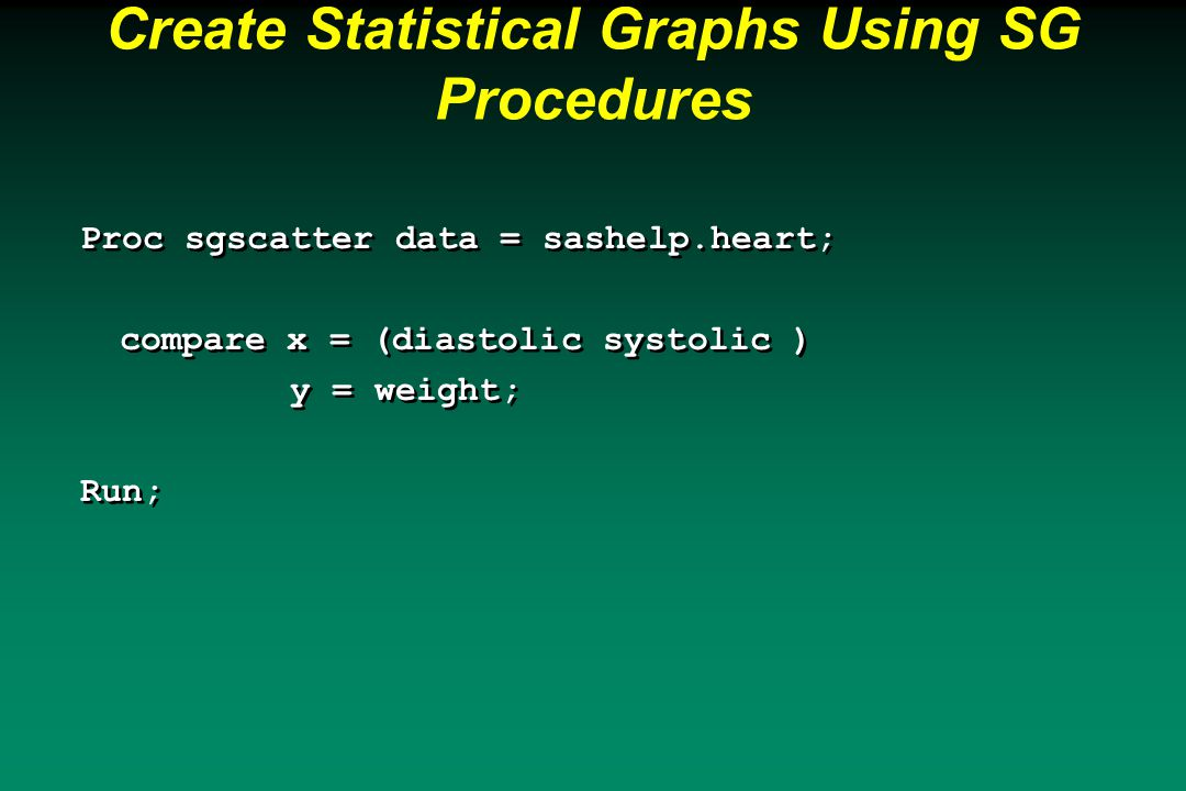 Proc sgscatter data = sashelp.heart; compare x = (diastolic systolic ) y = weight; Run;