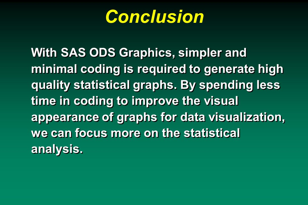 Conclusion With SAS ODS Graphics, simpler and minimal coding is required to generate high quality statistical graphs.