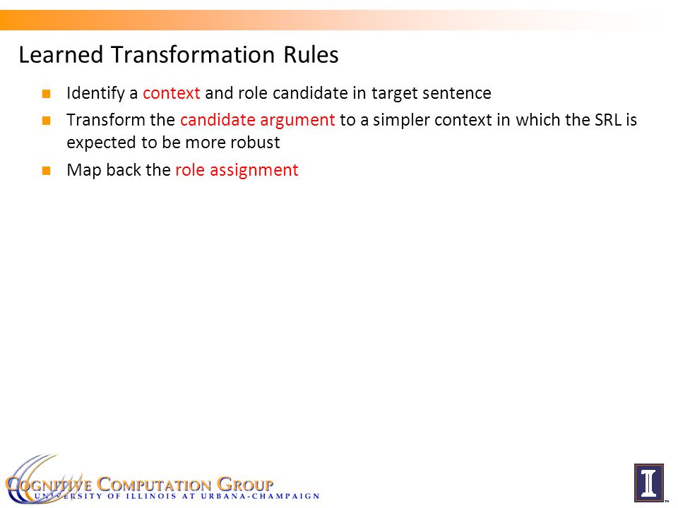 Learned Transformation Rules Identify a context and role candidate in target sentence Transform the candidate argument to a simpler context in which the SRL is expected to be more robust Map back the role assignment 23