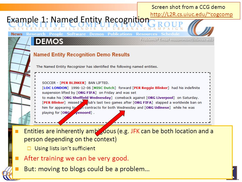 Screen shot from a CCG demo http://L2R.cs.uiuc.edu/~cogcomp http://L2R.cs.uiuc.edu/~cogcomp 3 Entities are inherently ambiguous (e.g.