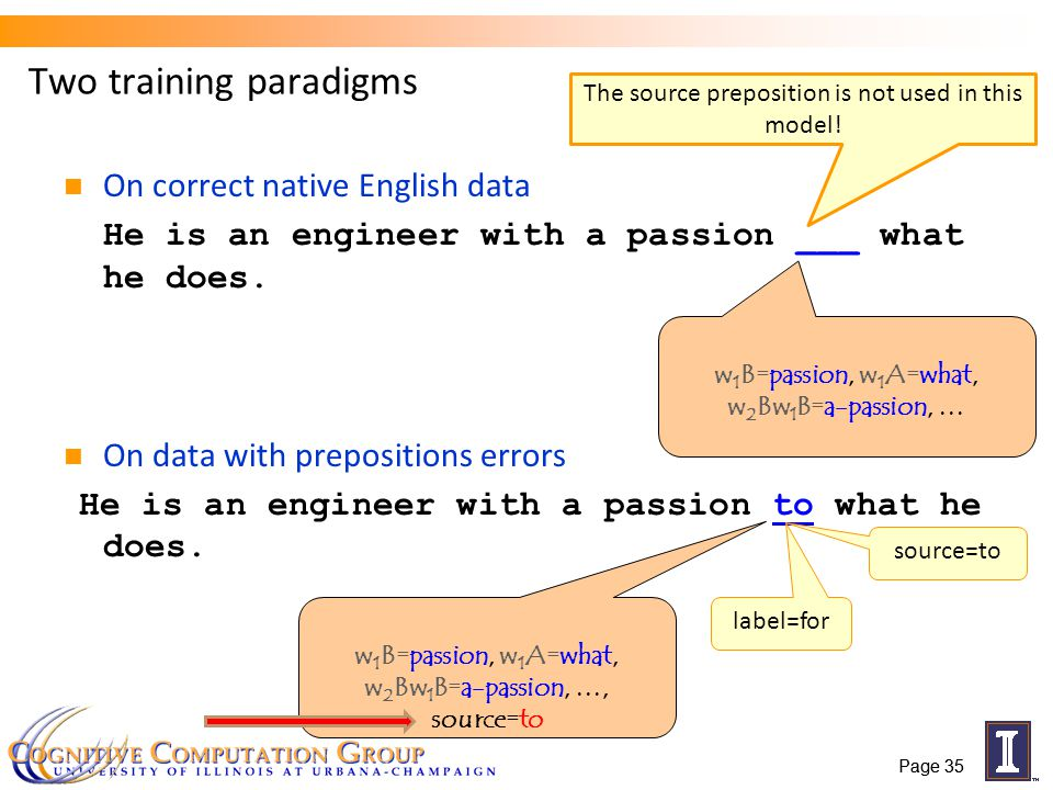 Page 35 Two training paradigms On correct native English data He is an engineer with a passion ___ what he does.