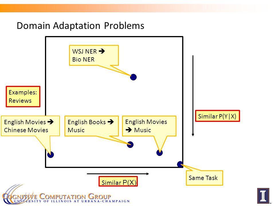 Domain Adaptation Problems Similar P(X) Similar P(Y|X) c English Movies  Chinese Movies English Books  Music English Movies  Music WSJ NER  Bio NER Examples: Reviews Same Task