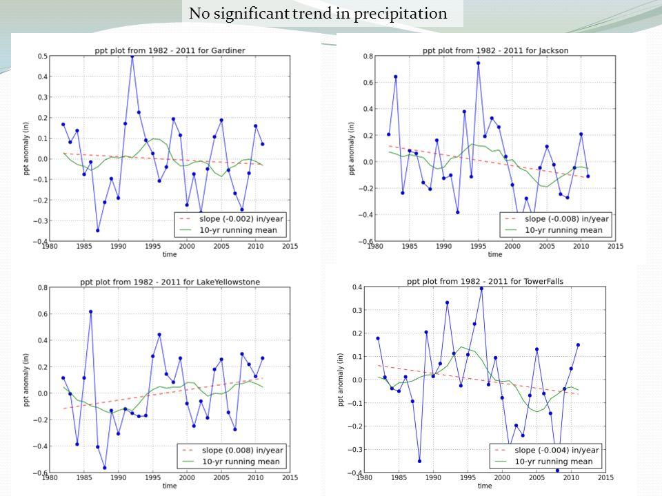 No significant trend in precipitation