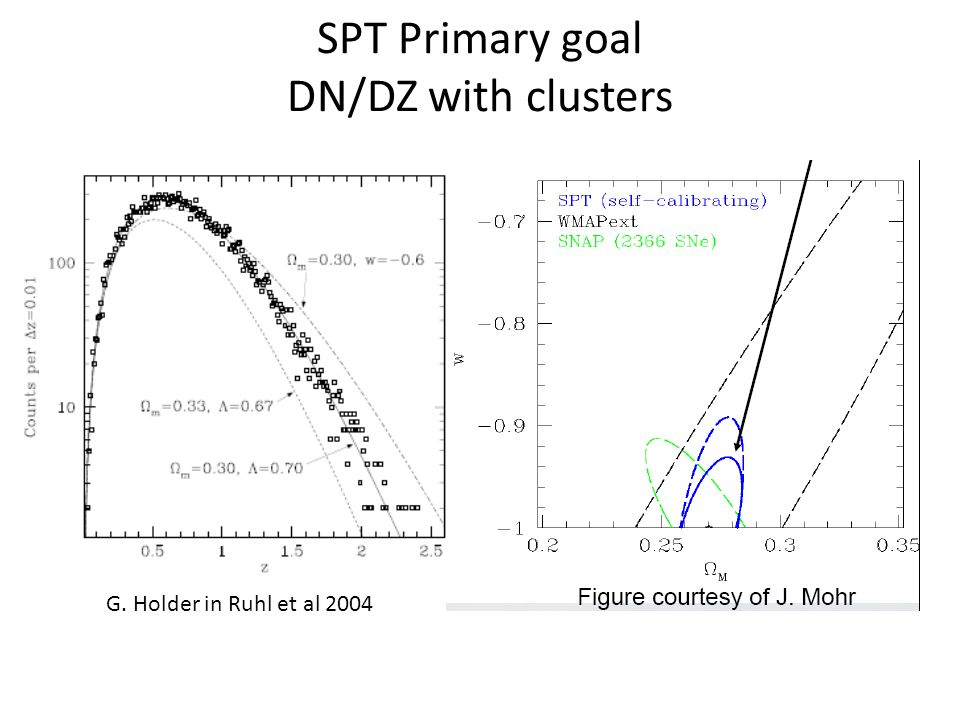 SPT Primary goal DN/DZ with clusters G. Holder in Ruhl et al 2004