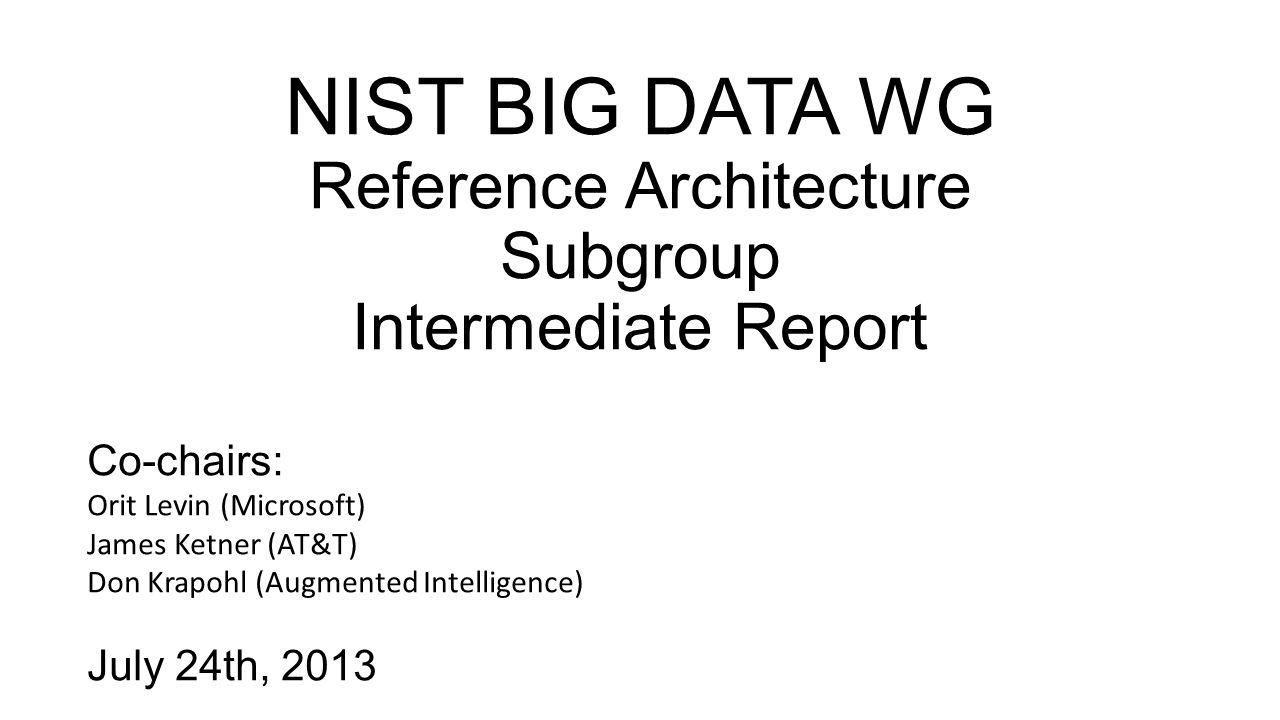 7/24/2013NIST Big Data WG / Ref Arch Sub-group22