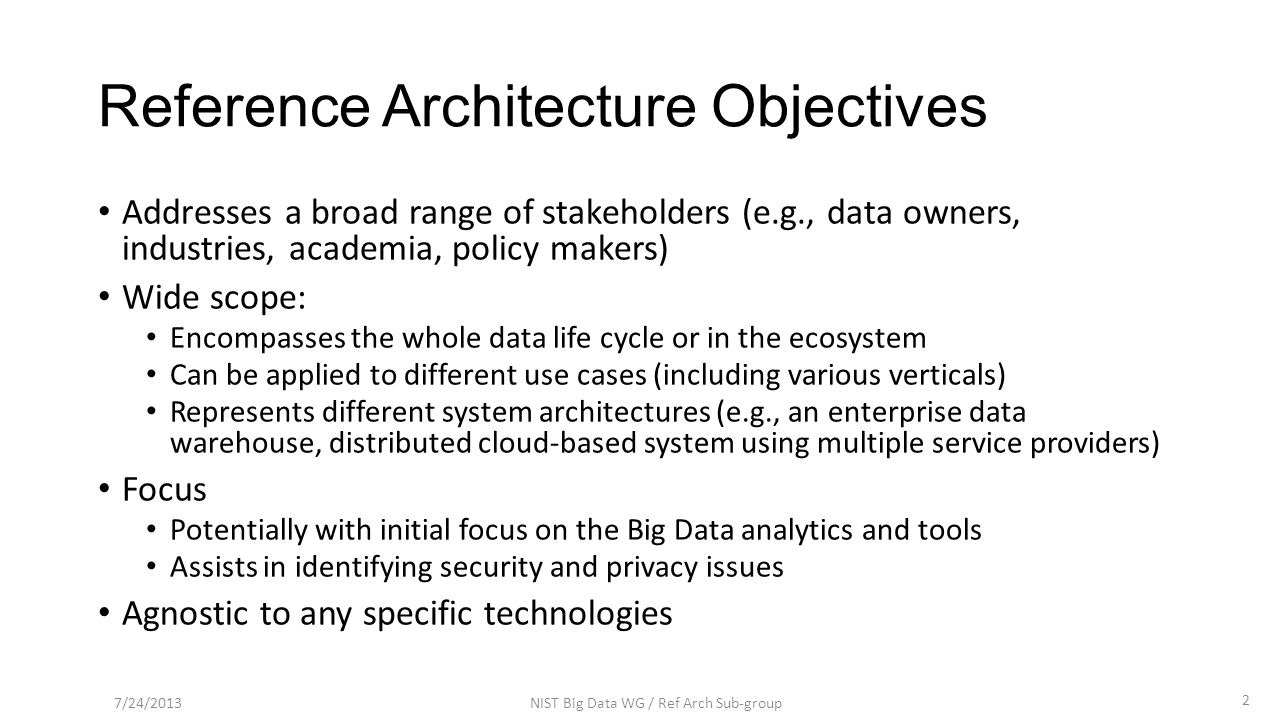 Data Centric by Wo Chang / NIST 7/24/2013NIST Big Data WG / Ref Arch Sub-group13