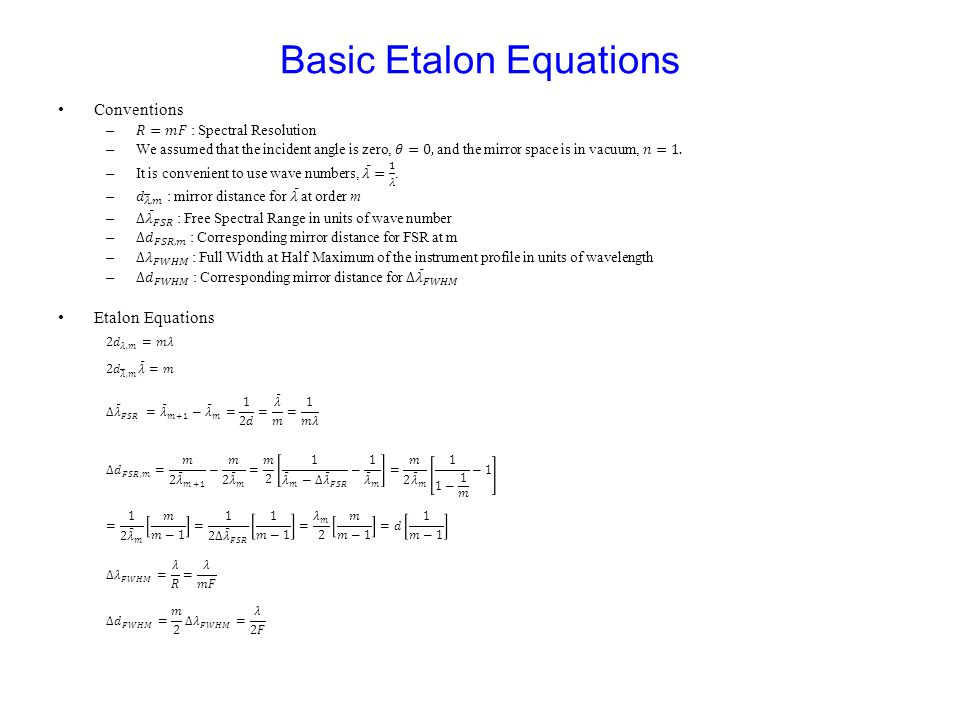 Basic Etalon Equations