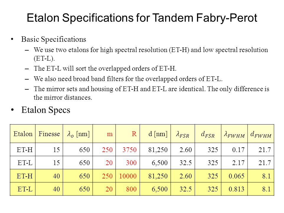 Etalon Specifications for Tandem Fabry-Perot Basic Specifications – We use two etalons for high spectral resolution (ET-H) and low spectral resolution (ET-L).