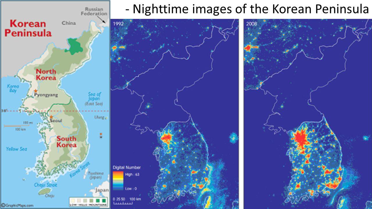 - Nighttime images of the Korean Peninsula
