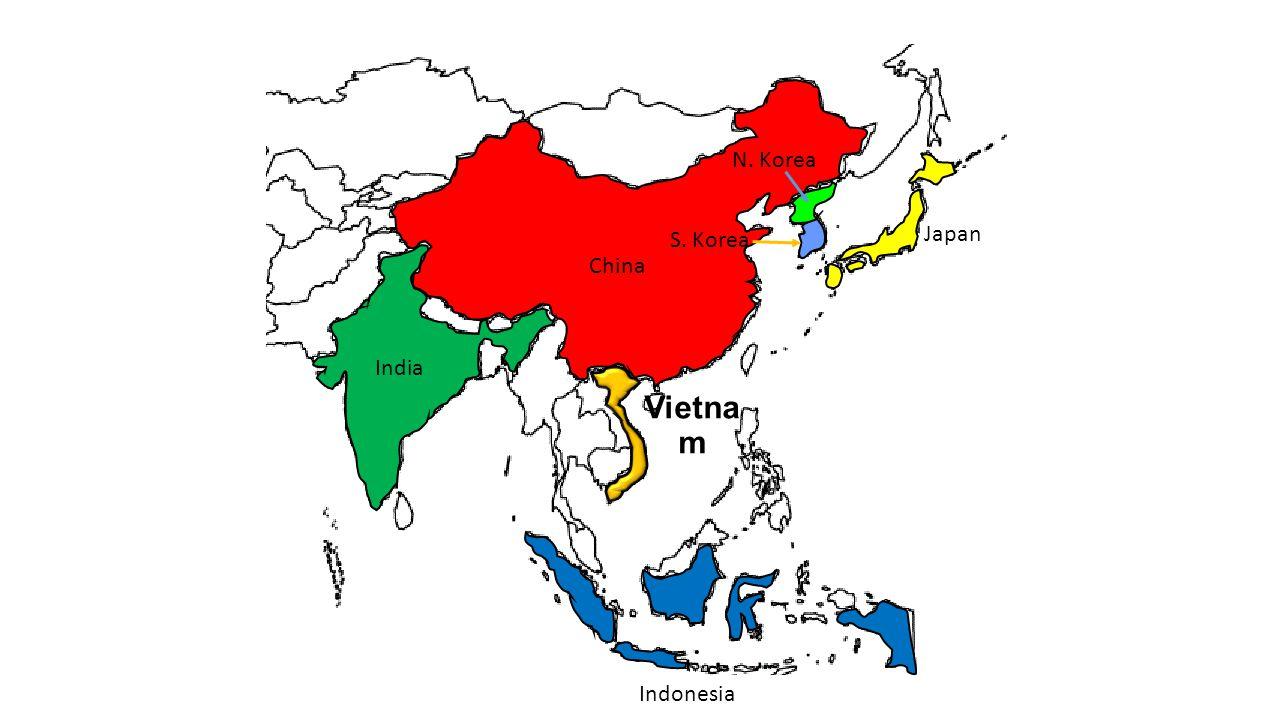 China Vietna m India Indonesia Japan N. Korea S. Korea