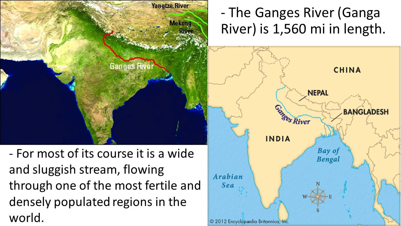 - The Ganges River (Ganga River) is 1,560 mi in length. - For most of its course it is a wide and sluggish stream, flowing through one of the most fer