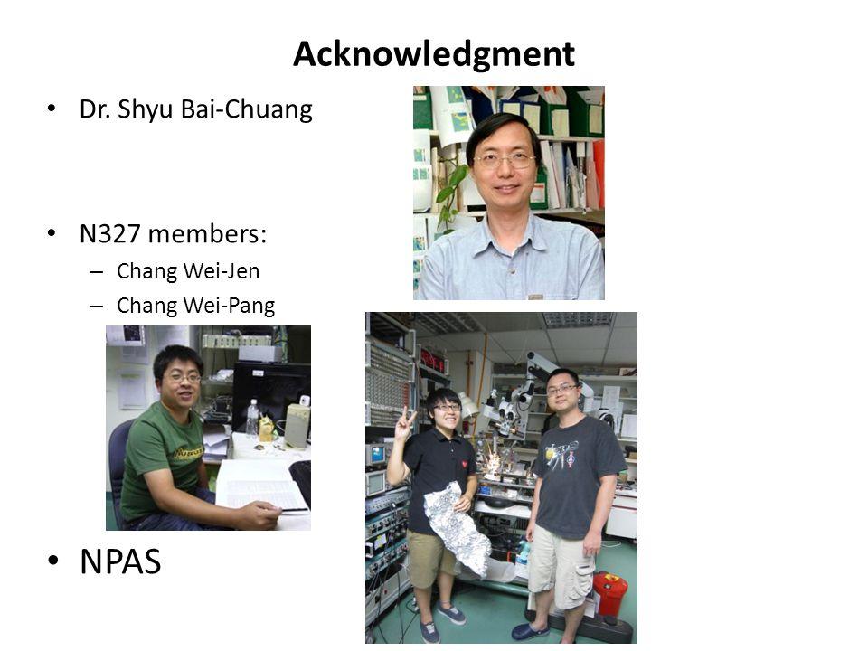 Acknowledgment Dr. Shyu Bai-Chuang N327 members: – Chang Wei-Jen – Chang Wei-Pang NPAS