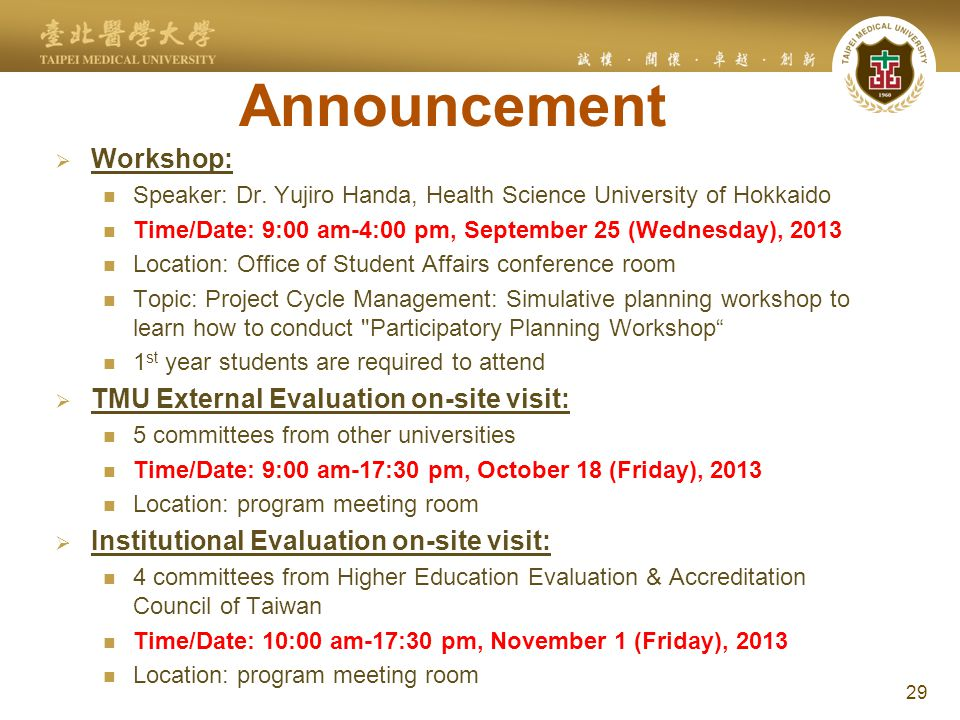 Announcement  Workshop: Speaker: Dr.
