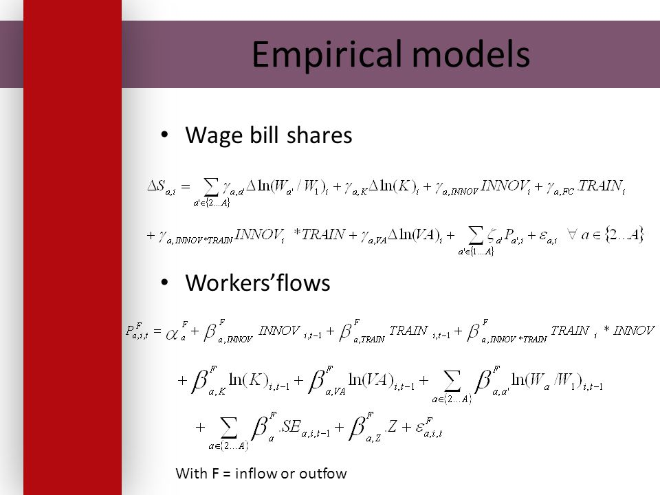 Empirical models Wage bill shares Workers'flows With F = inflow or outfow