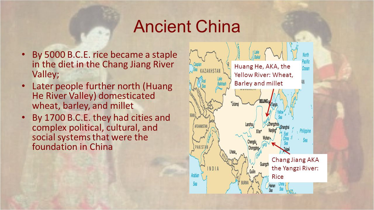 Ancient China: Geography Away from other areas; they did trade but distance and geographic features separated the area; China developed independently – Agriculture and metalworking were independently invented Rivers of Huang He and Chang Jiang were great for farming (silt) Other areas such as Gobi Desert, Himalayan Mts., and the Tarim Basin less inhabitable Most people, even today, live in the East along the rivers and the coastline In other words, most people live in the green area on the map.