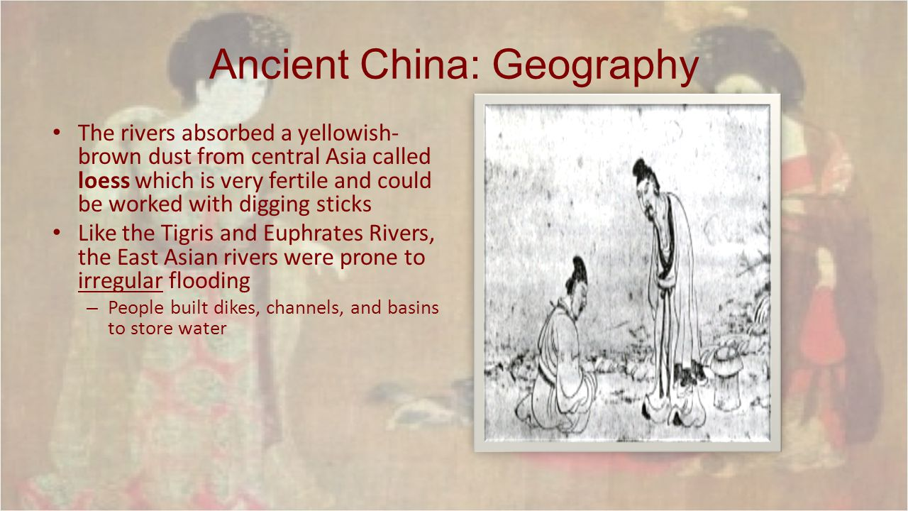 Marker Event: The Mandate of Heaven Idea occurred when the Zhou overthrew the Shang in 12 th C BCE to justify a forceful removal – Zhou rulers claimed they were given the right to rule from heaven – As long as the rulers were just & fair they would have confidence of heaven, but if they were not, the mandate would be lost – Prosperity was a sign from heaven that the rulers still had the mandate, but misfortunes meant that the ruler were not living up to expectations – If a ruler lost the mandate, subjects had the responsibility to replace him.