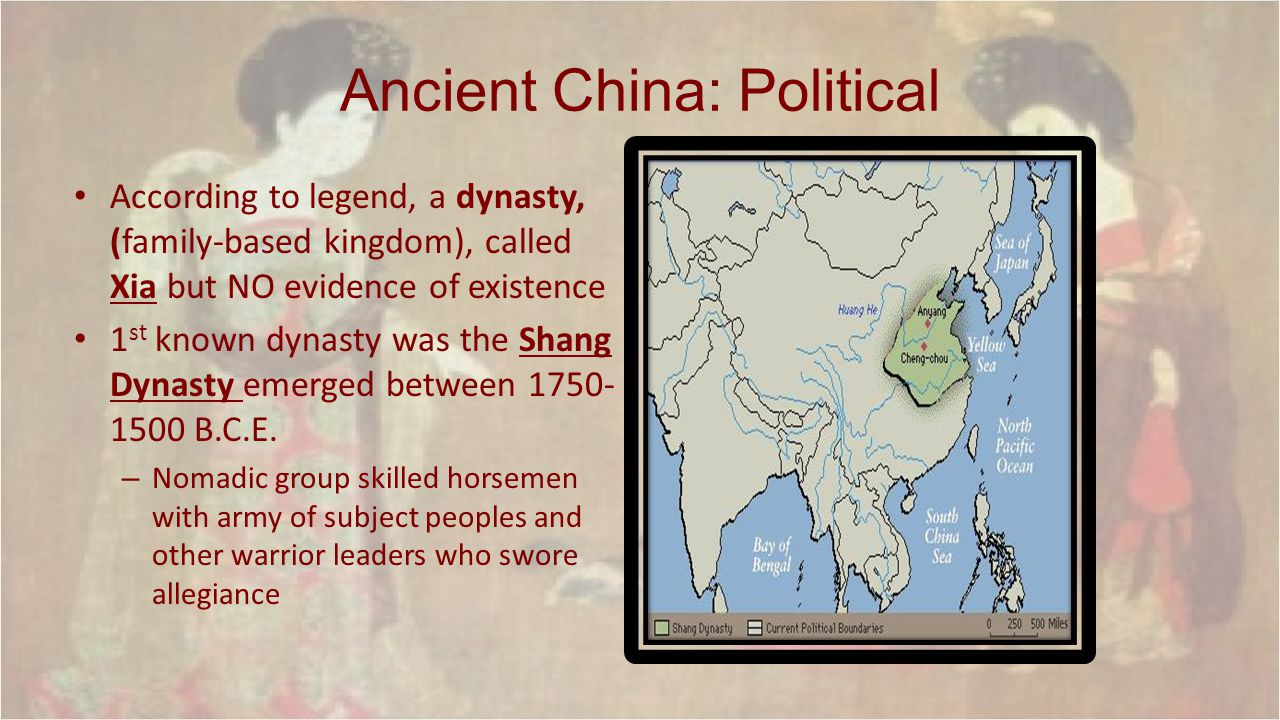 Ancient China: Political King is a intermediary between Supreme Being, Shandi, had a lot of power – People were governed by vassals, lords that served the king and bound by personal ties – Warrior aristocrats collected tribute (farm produce) which supported the monarchy
