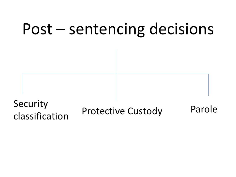 Post – sentencing decisions Security classification Protective Custody Parole