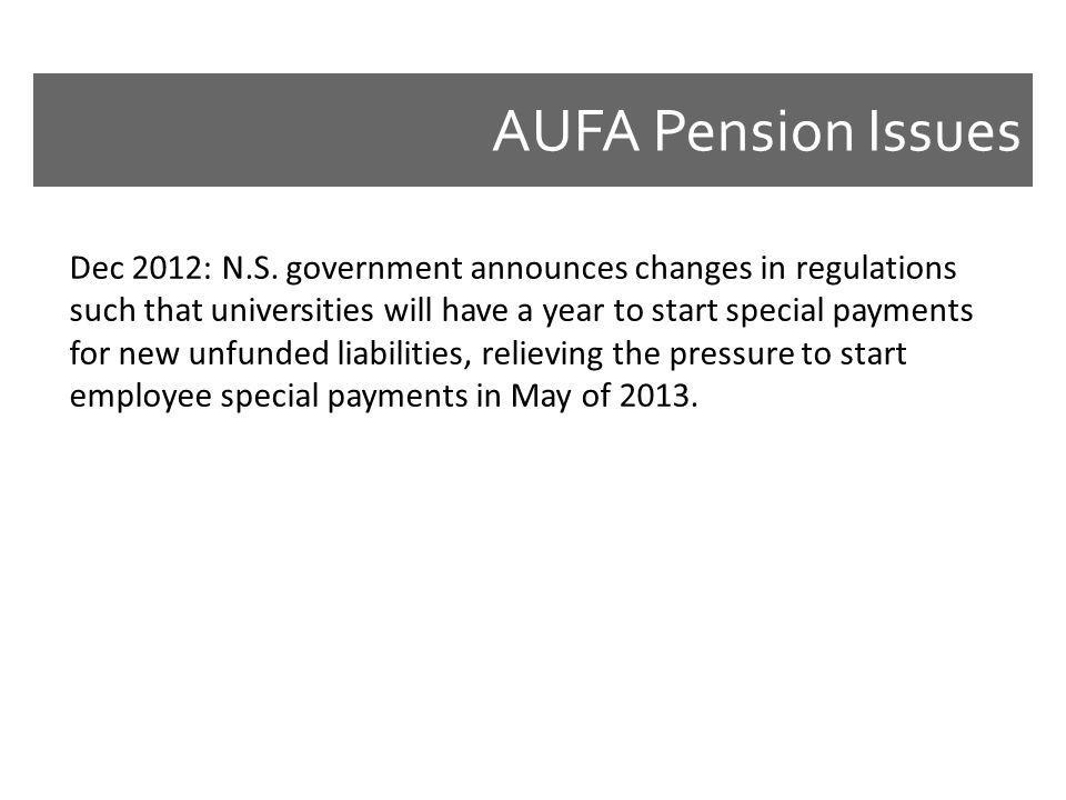 AUFA Pension Issues Dec 2012: N.S. government announces changes in regulations such that universities will have a year to start special payments for n
