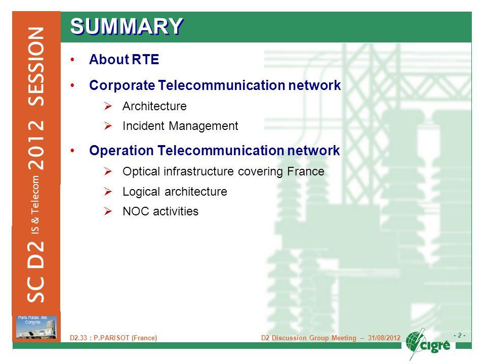 D2 Discussion Group Meeting – 31/08/2012 - 2 - Paris Palais des Congrès 2012 SESSION SC D2 IS & Telecom D2.33 : P.PARISOT (France) SUMMARY About RTE C