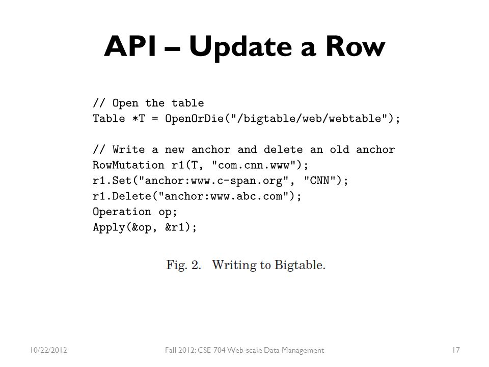 API – Update a Row 10/22/2012Fall 2012: CSE 704 Web-scale Data Management17